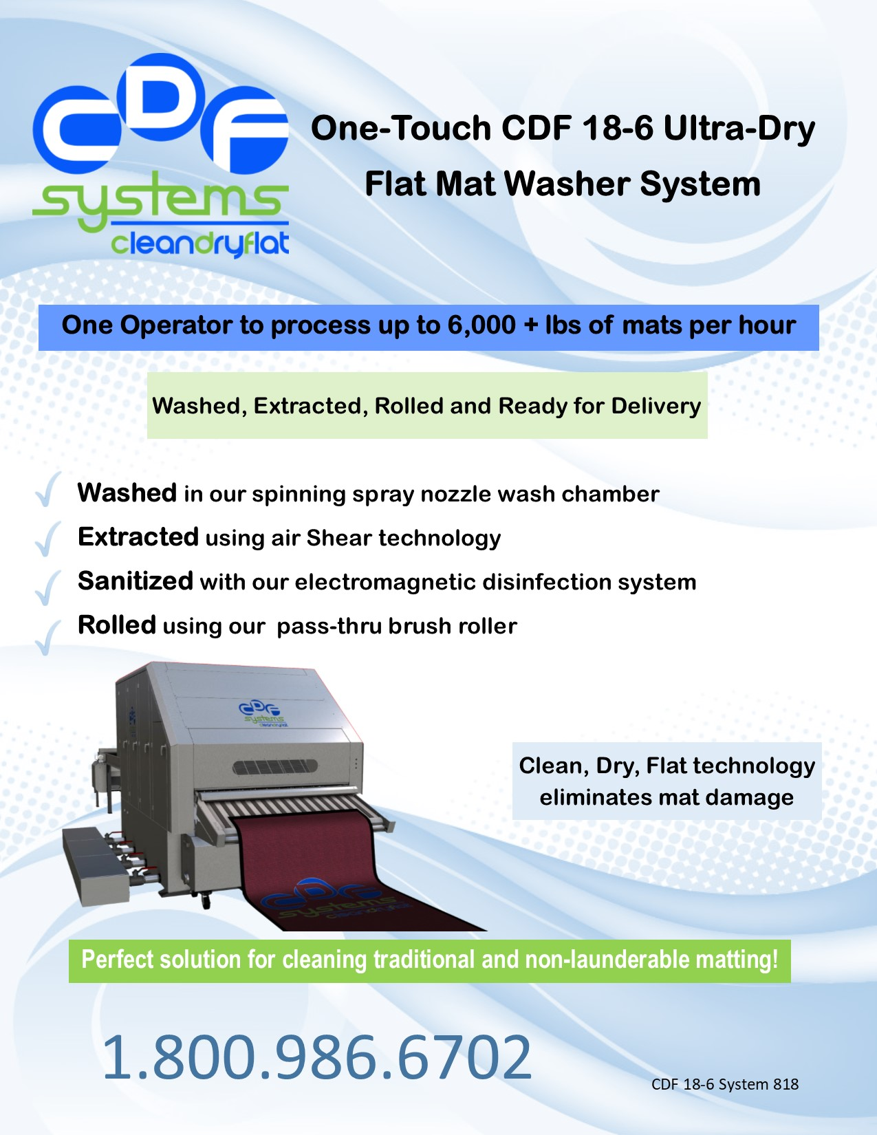 CDF 18-6 Flat Mat Washer 818 front page